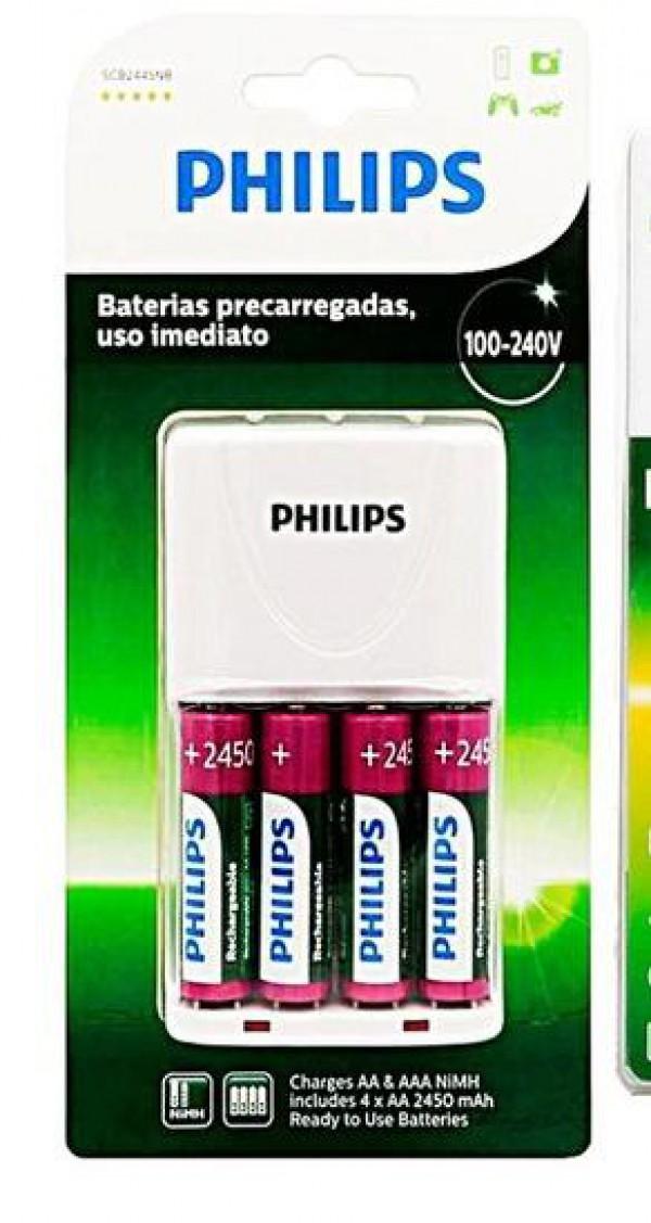 CARREGADOR DE PILHAS C/4 PILHAS  PHILIPS ORIGINAL